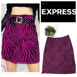 Express Magenta Pink Brown Zebra Print Skirt